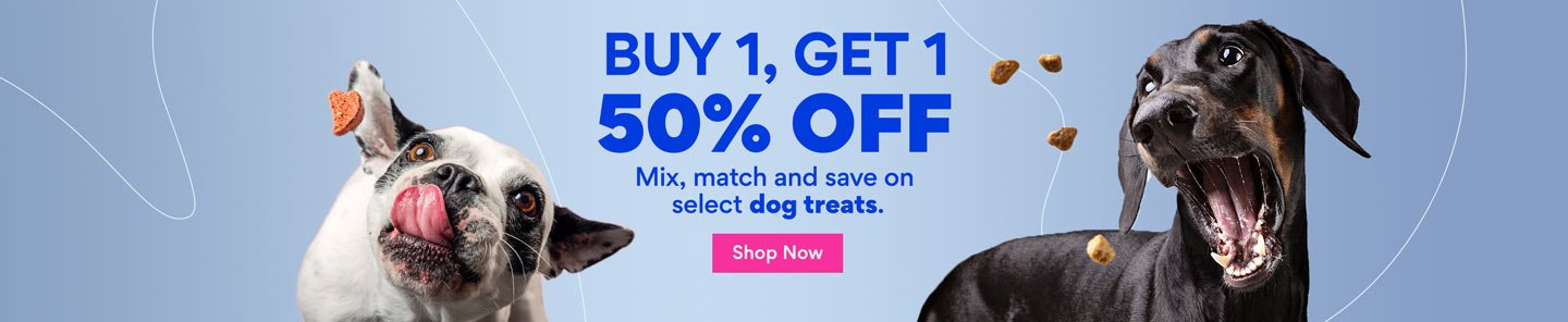 Buy 1, Get 1 50% Off. Mix, match and save on select dog treats. Shop Now.